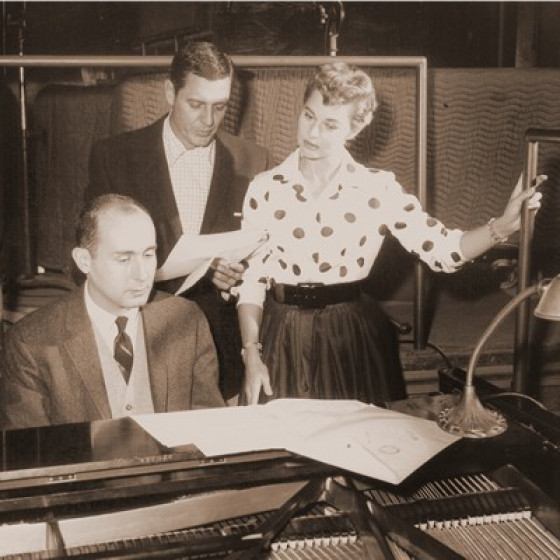 During a rehearsal with Henry Mancini