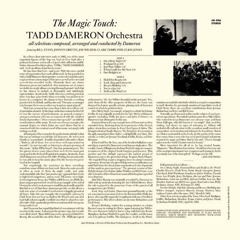 Tadd Dameron The Magic Touch Audiophile 180gr Hq Vinyl